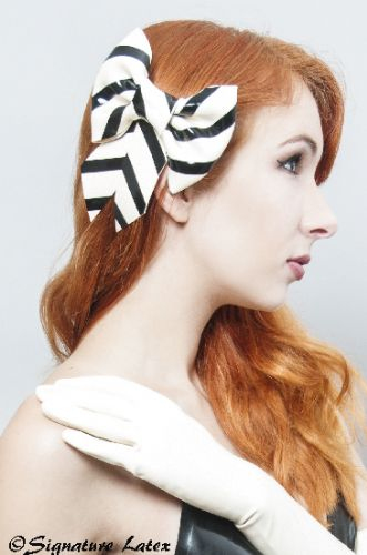 Latex large striped hair bow